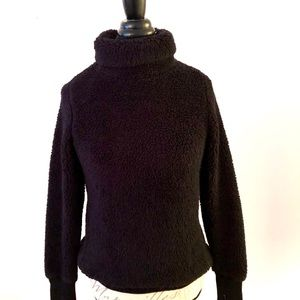 Athleta Nirvana Funnel-Neck Black Fuzzy Sweater
